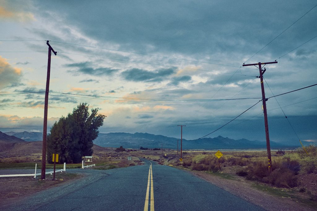 Early morning on the road coming out of death Valley, headed for Barstow California.